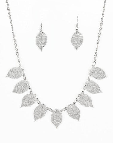 "Paparazzi Accessories - Paparazzi ""Leafy Lagoon"" - Silver - Necklaces"