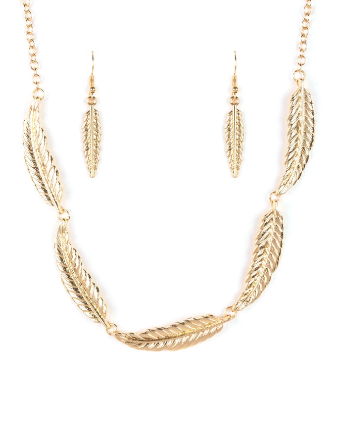 Paparazzi Accessories - Paparazzi Light Flight Gold Feather Collar Necklace and Earring Set - Necklaces