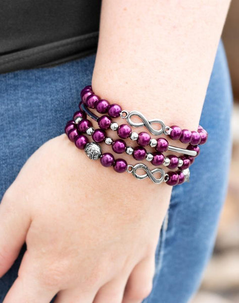 Paparazzi Accessories - Paparazzi - Limitless Luxury - Purple Pearl Infinity Bracelet - Bracelets