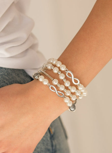 Paparazzi Accessories - Paparazzi - Limitless Luxury - White Pearl Infinity Bracelet - Bracelets