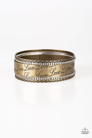 Paparazzi Accessories - Literally Loveable - Brass Silver | Love Engraved | Paparazzi Bracelet - Bracelets