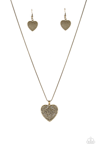 "Paparazzi Accessories - Paparazzi ""Look Into Your Heart"" - Brass Necklace and Earring Set - Necklaces"