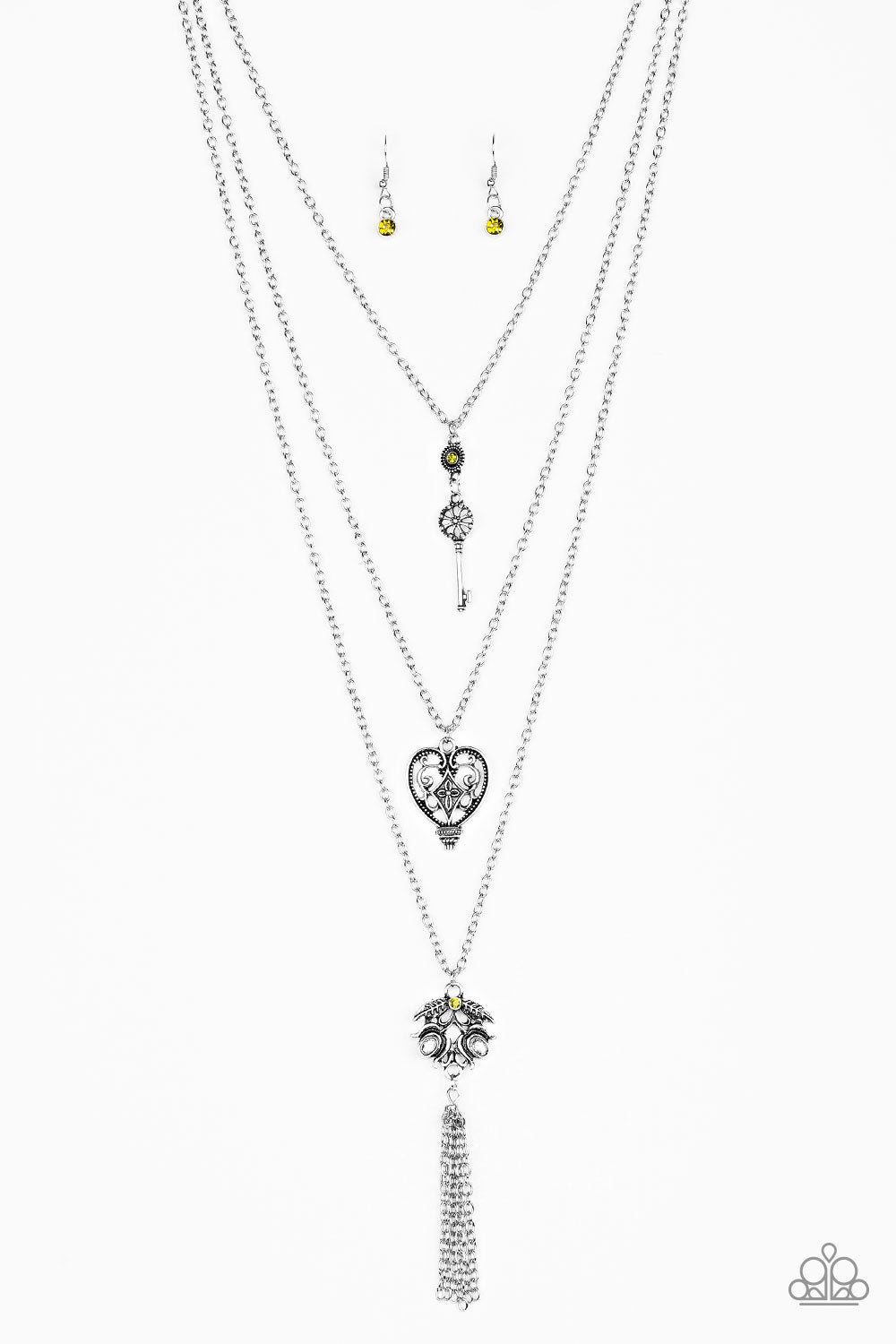 Paparazzi Accessories - Love Opens All Doors - Green Necklace and Earring Set - Necklaces