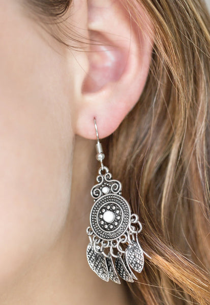 Paparazzi Accessories - Paparazzi Earring - Lower East WILDSIDE - White - Earrings