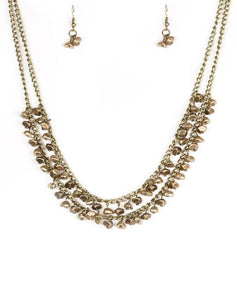Paparazzi Accessories - Majestic Marinas Brass Necklace and Earring Set - Necklaces