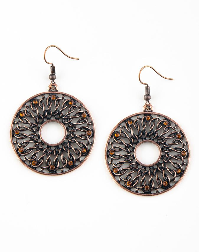 "Paparazzi Accessories - Paparazzi ""Malibu Musical"" Copper Rhinestone Earrings - Earrings"