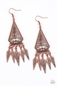 Paparazzi Accessories - Paparazzi Earring - Me Oh MAYAN - Copper - Earrings