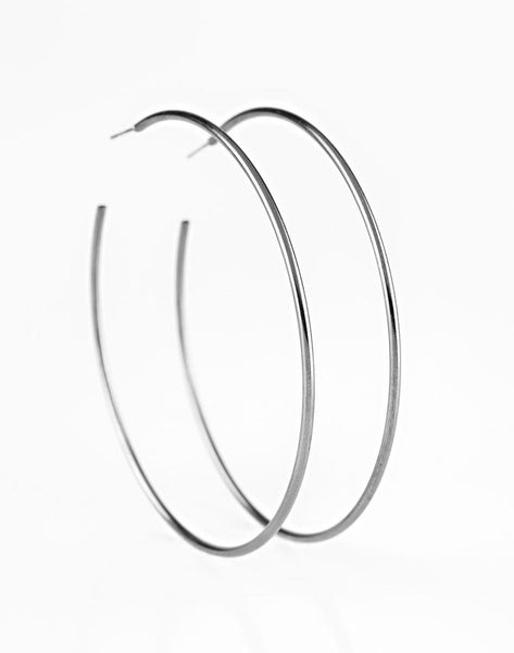 "Paparazzi Accessories - Paparazzi ""Meet Your Maker!"" Bold Silver Hoop Earrings - Earrings"