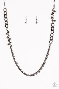 Paparazzi Accessories - Paparazzi - Mega Megacity - Black Faceted Gunmetal Beads and Chain Necklace and Earring Set -
