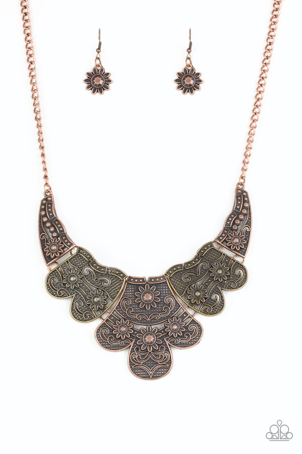 Paparazzi Accessories - Mess With the Bull | Multicolor Embossed Floral | Paparazzi Necklace and Earring Set - Necklaces