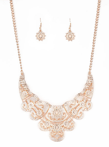 Paparazzi Accessories - Mess With the Bull | Rose Gold Embossed Floral | Paparazzi Necklace and Earring Set - Necklaces