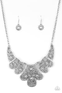 Paparazzi Accessories - Mess With the Bull | Silver Embossed Floral | Paparazzi Necklace and Earring Set - Necklaces