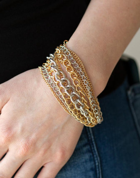 "Paparazzi Accessories - Paparazzi ""Metallic Horizon"" - Gold - Bracelets"