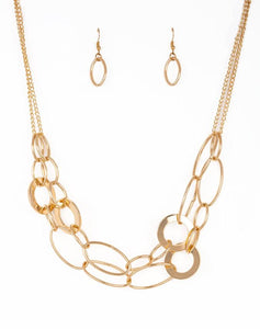 Paparazzi Accessories - Metallic Maverick | Gold Hoop | Paparazzi Necklace and Earring Set - Necklaces