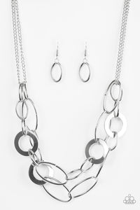 Paparazzi Accessories - Metallic Maverick | Silver Hoop | Paparazzi Necklace and Earring Set - Necklaces