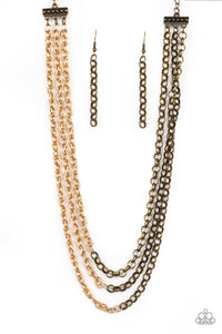 Paparazzi Accessories - Paparazzi | Metro Madness | Brass/Gold Necklace and Earring Set - Necklaces