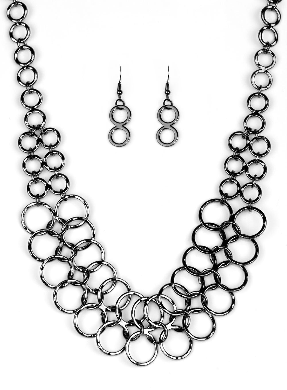 "Paparazzi Accessories - Paparazzi ""Metro Maven"" Double Ring Gunmetal Necklace and Earring Set - Necklaces"