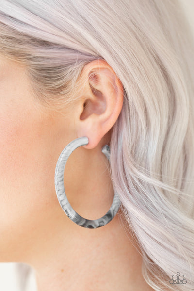 Paparazzi Accessories - Miami Minimalist - White and Grey marble finish White Hoop Earrings - Earrings
