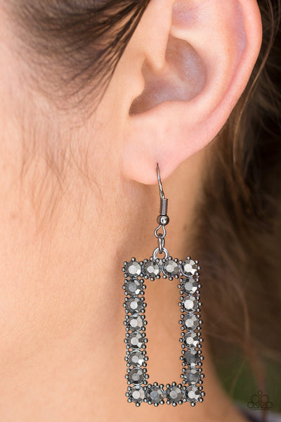 Paparazzi Accessories - Paparazzi - Mirror, Mirror - Black Gunmetal Rhinestone Earring - Earrings