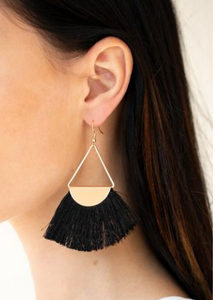 Paparazzi Accessories - Modern Mayan | black Tassel | Gold Fitted Paparazzi earrings - Earrings