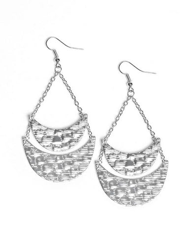 "Paparazzi Accessories - Paparazzi ""Moon Landings"" - Silver - Earrings"
