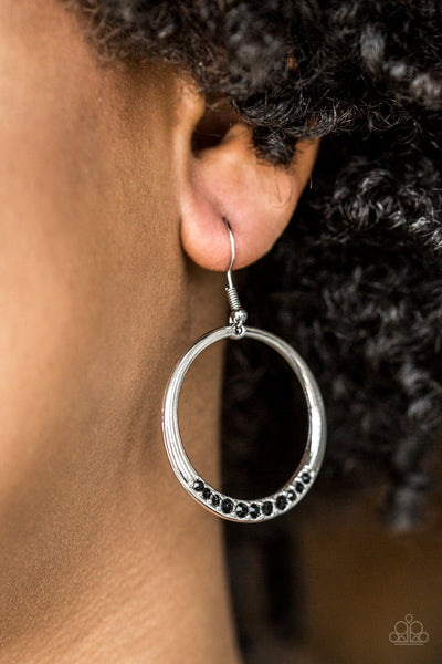 Paparazzi Accessories - Morning Mimosas | Black Rhinestone | Paparazzi Hoop Earring - Earrings