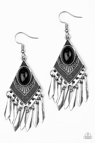 Paparazzi Accessories - Paparazzi Mostly Monte-ZUMBA Black Tribal Inspired Earring - Earrings