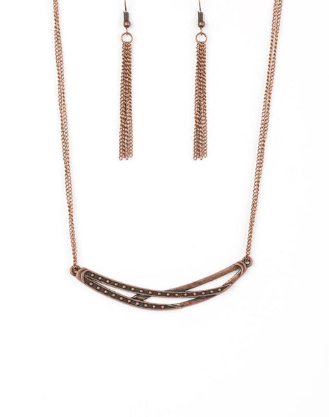 Paparazzi Accessories - Paparazzi Necklace - Moto Modern - Copper - Necklaces