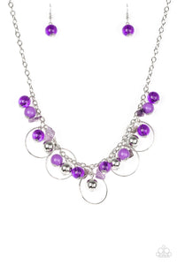 Paparazzi Accessories - Paparazzi - Mountain Mosaic - Purple Silver Bead Necklace and Earring Set - Necklaces