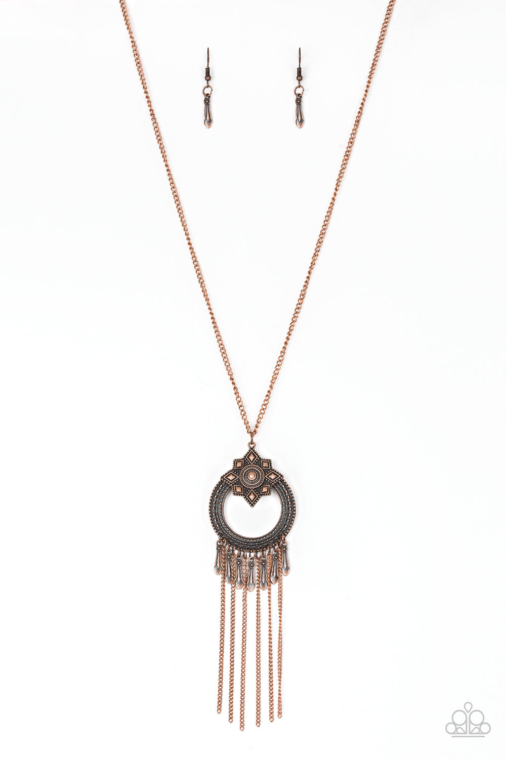 Paparazzi Accessories - Paparazzi Necklace - My Main MANTRA - Copper Necklace and Earring Set - Necklaces