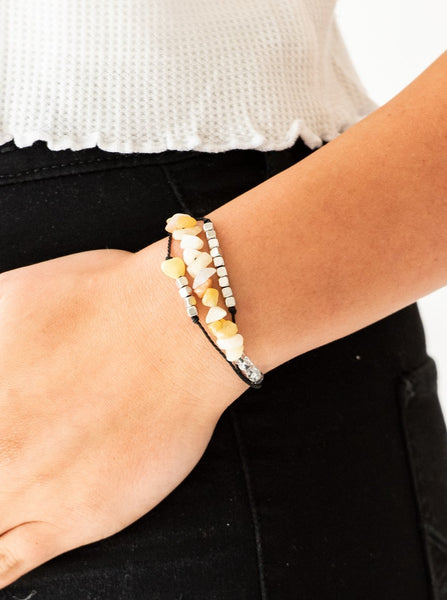 "Paparazzi Accessories - Paparazzi ""Nature Novice""  Yellow bead Cord Bracelet - Bracelets"