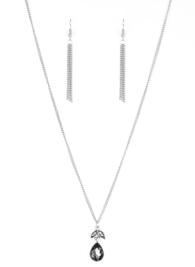 "Paparazzi Accessories - Paparazzi Accessories ""Nice To Meet You"" Silver Teardrop Rhinestone Necklace and Earring Set - Necklaces"
