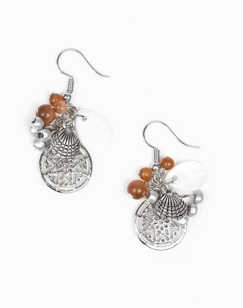 "Paparazzi Accessories - Paparazzi ""Ocean Oracle"" - Brown - Earrings"