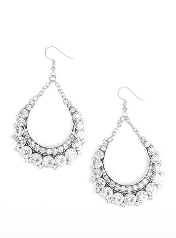 "Paparazzi Accessories - Paparazzi ""Once In A SHOWTIME"" - White Earring - Earrings"
