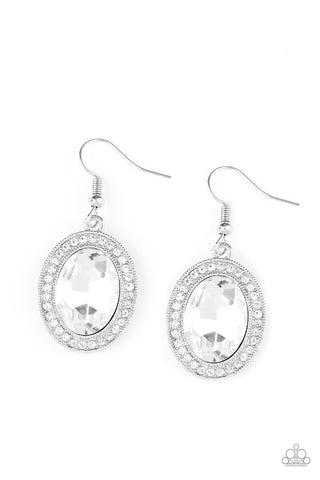"Paparazzi Accessories - Paparazzi ""Only FAME In Town"" White Rhinestone Earrings - Earrings"