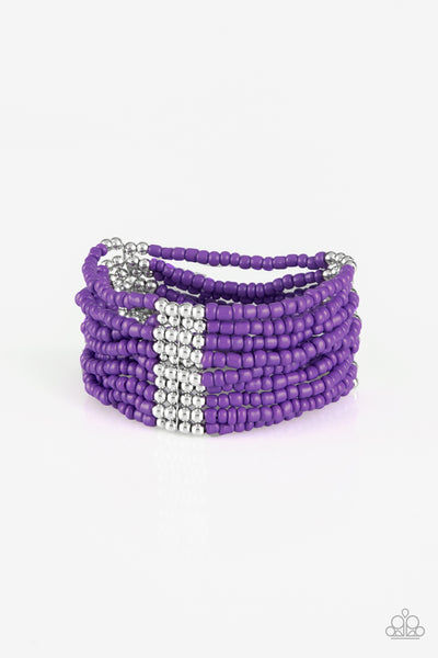 Paparazzi Accessories - Paparazzi - Outback Odyssey Purple and Silver Bead Bracelet - Bracelets