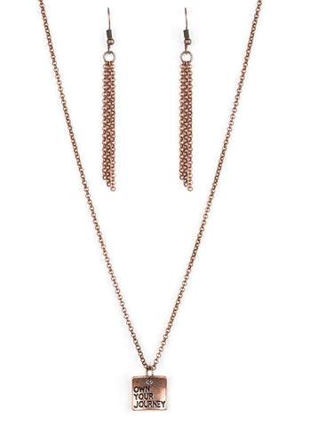 "Paparazzi Accessories - Paparazzi ""Own Your Journey"" Antiqued Stamped Copper Necklace and Earring Set - Necklaces"