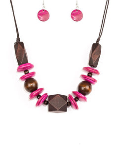 "Paparazzi Accessories - Paparazzi ""Pacific Paradise"" Pink Necklace and Earring Set - Necklaces"