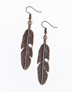 "Paparazzi Accessories - Paparazzi ""Feathers QUILL Fly"" - Copper - Earrings"