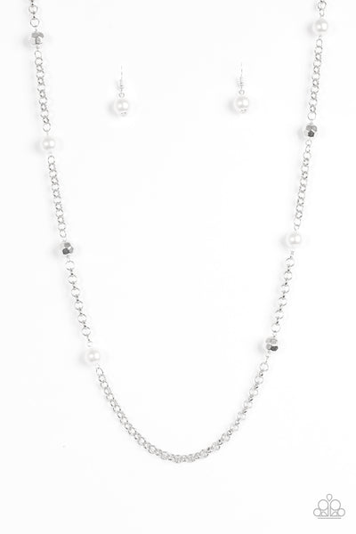 Paparazzi Accessories - Paparazzi Necklace - Showroom Shimmer - White - Necklaces