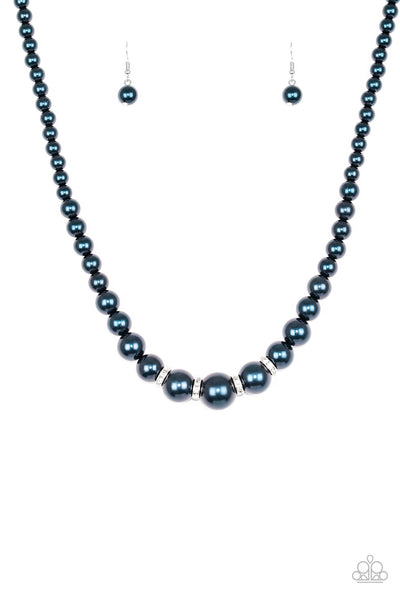 Paparazzi Accessories - Party Pearls | Blue Rhinestone | Peal Necklace and Earring Set - Necklaces
