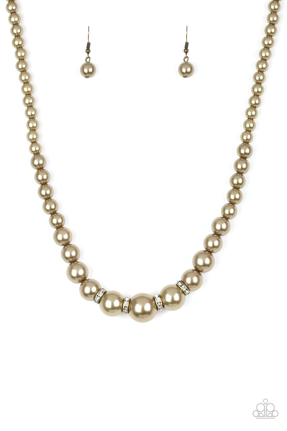 Paparazzi Accessories - Party Pearls | Brass Rhinestone | Peal Necklace and Earring Set - Necklaces