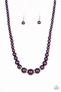 Paparazzi Accessories - Party Pearls | Purple Rhinestone | Peal Necklace and Earring Set - Necklaces