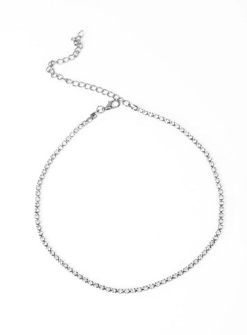 Paparazzi Accessories - Paparazzi Collar Pitch PURR-fect - White Rhinestone Gunmetal Necklace and Earring Set - Necklaces
