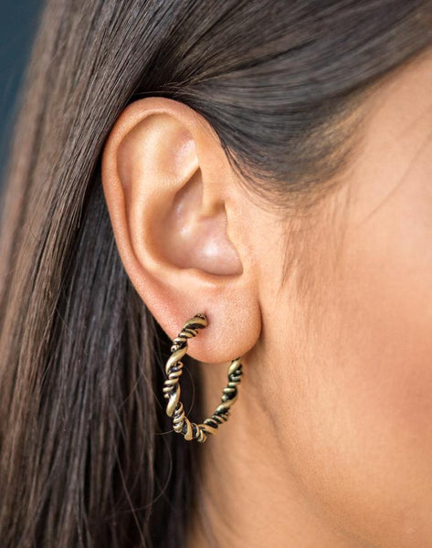 "Paparazzi Accessories - Paparazzi ""Plainly Panama"" - Brass Earring - Earrings"