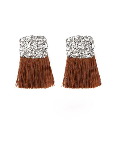 "Paparazzi Accessories - ""Paparazzi ""Plume Bloom"" - Brown - Earrings"