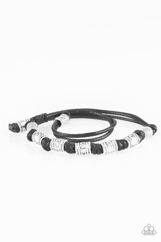 "Paparazzi Accessories - Paparazzi ""Port Of Call"" Black Silver Bead Leather Urban Bracelet Unisex - Bracelets"