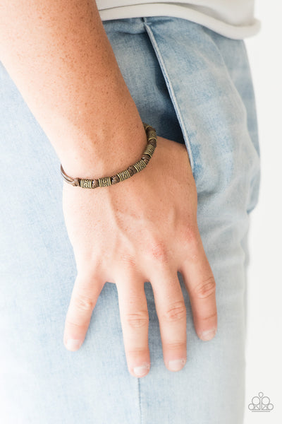 "Paparazzi Accessories - Paparazzi ""Port Of Call"" Brown Brass Bead Leather Urban Bracelet Unisex - Bracelets"