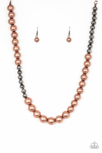 Paparazzi Accessories - Paparazzi - Power To The People - Gunmetal Copper Bead Necklace and Earring Set - Necklaces