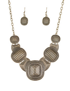 Prehistoric Powerhouse Brass Paparazzi Geometric Necklace and Earring Set - Paparazzi Accessories - Necklaces - BeeDazzled Jewel Boutique Paparazzi